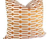 Annie Selke Orange Links Decorative Pillow Cover