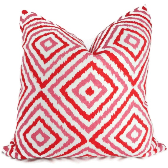 Jonathan Adler Pink Orange Diamond Ikat Decorative Pillow Cover, Accent Pillow, Throw Pillow, Toss Pillow