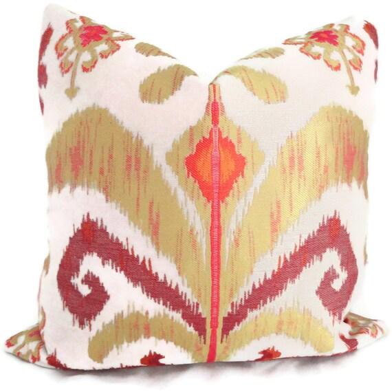 SALE Yellow, Orange and Pink Ikat Jacquard Designer Pillow Cover Square or Lumbar Pillow, Accent Pillow