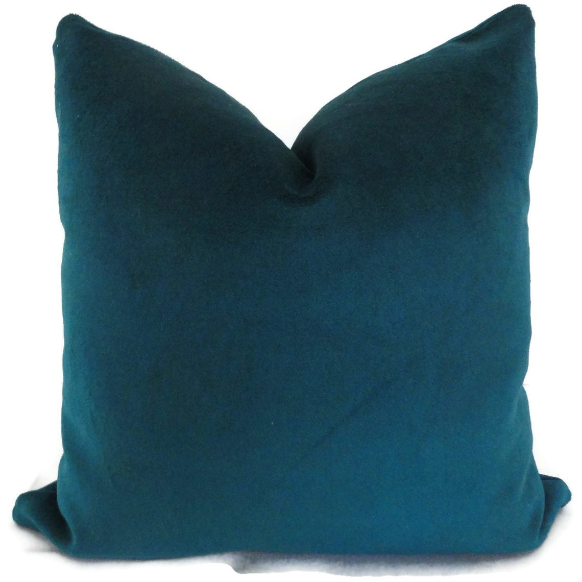 Velvet Peacock Blue Decorative Pillow Cover 18x18 by PopOColor