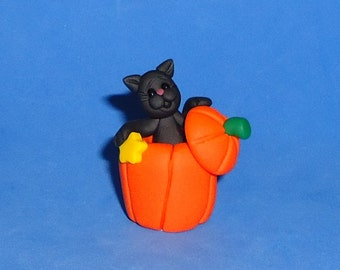 Polymer Clay Halloween Black Cat Pumpkin