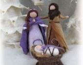Needle felted and wet felted Nativity Set C felted, Holy Family