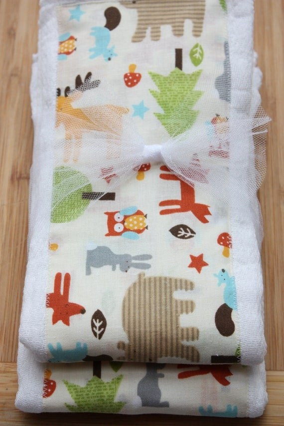 SALE Woodland Creatures Set of 2 Burp Cloths