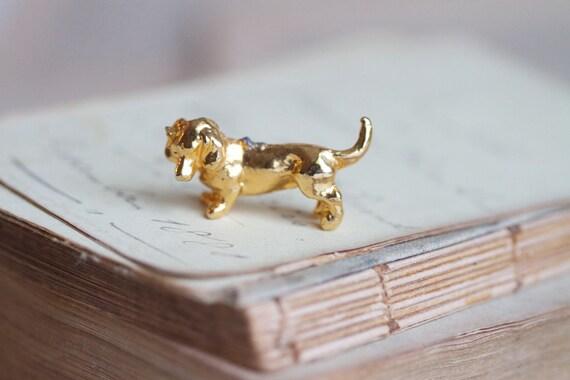 Tiny Lead Figurine - Golden Sausage Dog Miniature