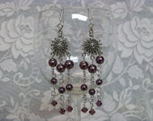 Purple Chandelier Earrings - Swarvoski Crystal Earrings - Tanzanite Earrings - Purple Pearl Earrings - Peweter Earrings