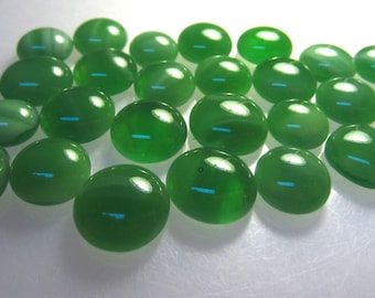Kiln Formed Translucent Green Glass Cabochons 27 Pieces (C367)