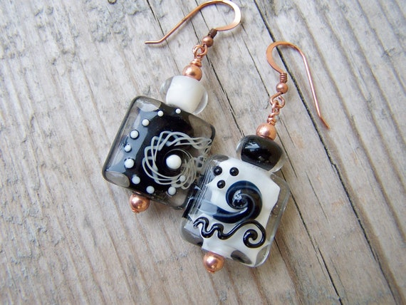 Lampwork Bead Copper Black & White Earrings