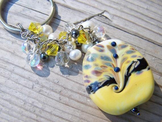 Gorgeous Chunky Swarovski Lampwork Beaded Key Chain