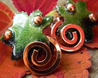 Vintage Matisse Enamel Green Leaf and Copper  Earrings