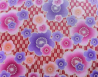 Japanese Cherry Blossom Fabric in pink and red from Kona Bay- It's All Good Collection (1 yard)