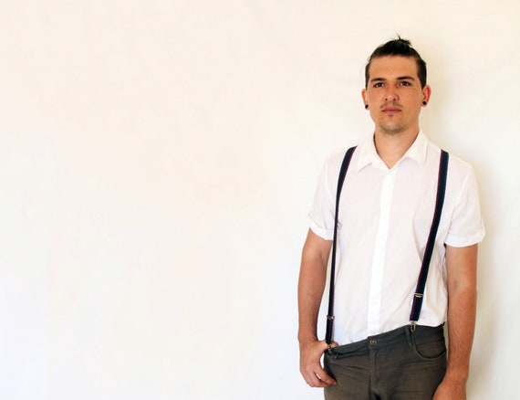 Man Unisex Suspenders Black Turquoise Pink