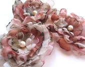 Shabby Chic Layered Fabric Flower Appliques in Grays and Rose - Set of 3