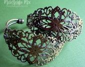 2X - antiqued bronze solid brass filigree adjustable cuff blank