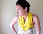 Yellow Infinity Scarf - Jersey Cotton Circle Scarf - Handmade Canary Yellow Infinity Scarf