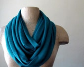 Teal Infinity Scarf - Jersey Slub Knit Circle Scarf - Loop Scarf, Eternity Scarf, Fall Scarf, Winter Scarf, Infinity Cowl - Fall Fashion