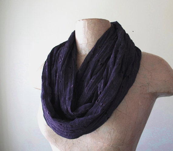 Chiffon Floral Lace Infinity Scarf - Infinity Wrinkle Circle Scarf - Lightweight Eggplant Purple Loop Scarf