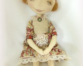 OOAK art handmade primitive cloth doll.