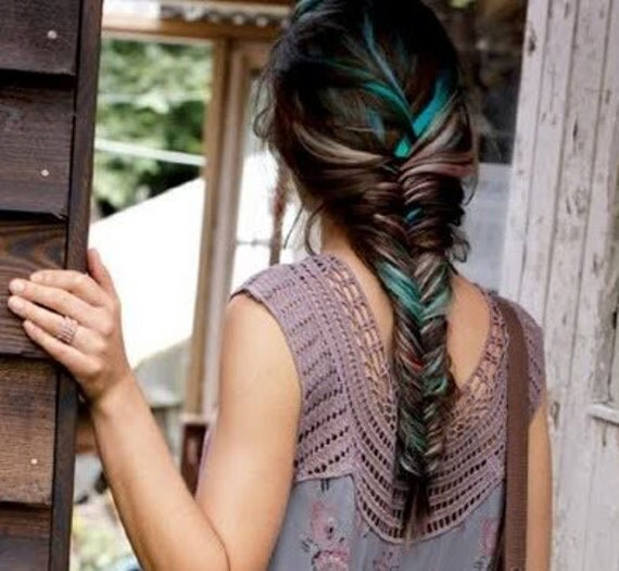Handmade rainbow colored human hair extensions fishtail like this item pmusecretfo Images