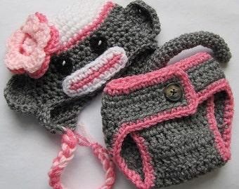 pink newborn sock monkey hat and monkey pants (0-3 months)