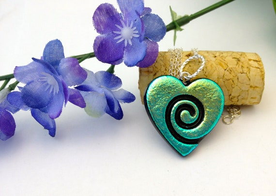 Dichroic Fused Glass Pedant Necklace Chrome Green Heart  Statement Jewelry 470