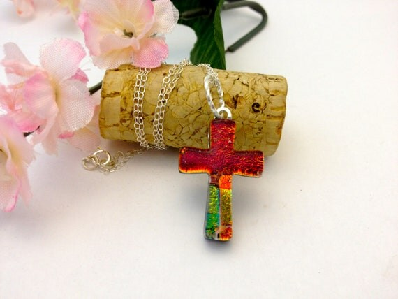 Fused Glass Dichroic Cross Pendant Necklace Red and Warm colors 471