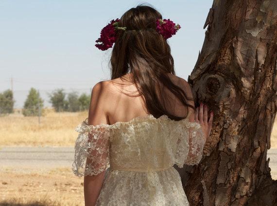 Vintage Bridal Shower Dress 70s Off the Shoulder Short Lace - Eve