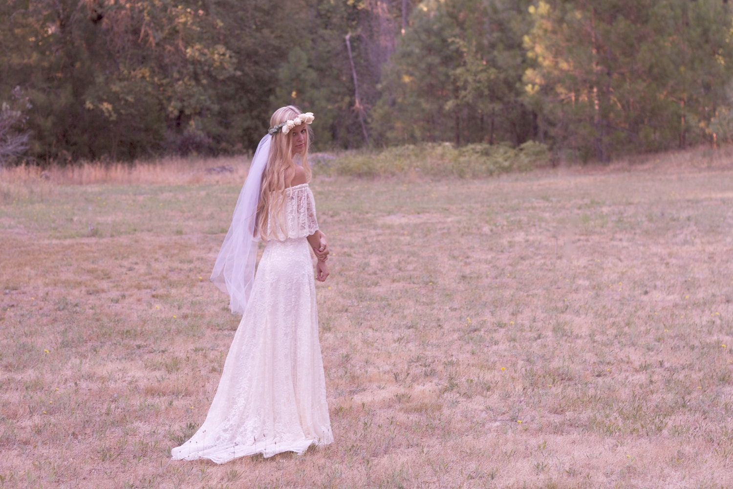 Bohemian wedding dress off the shoulder lace ivory 1970s Hippie vintage wedding dresses