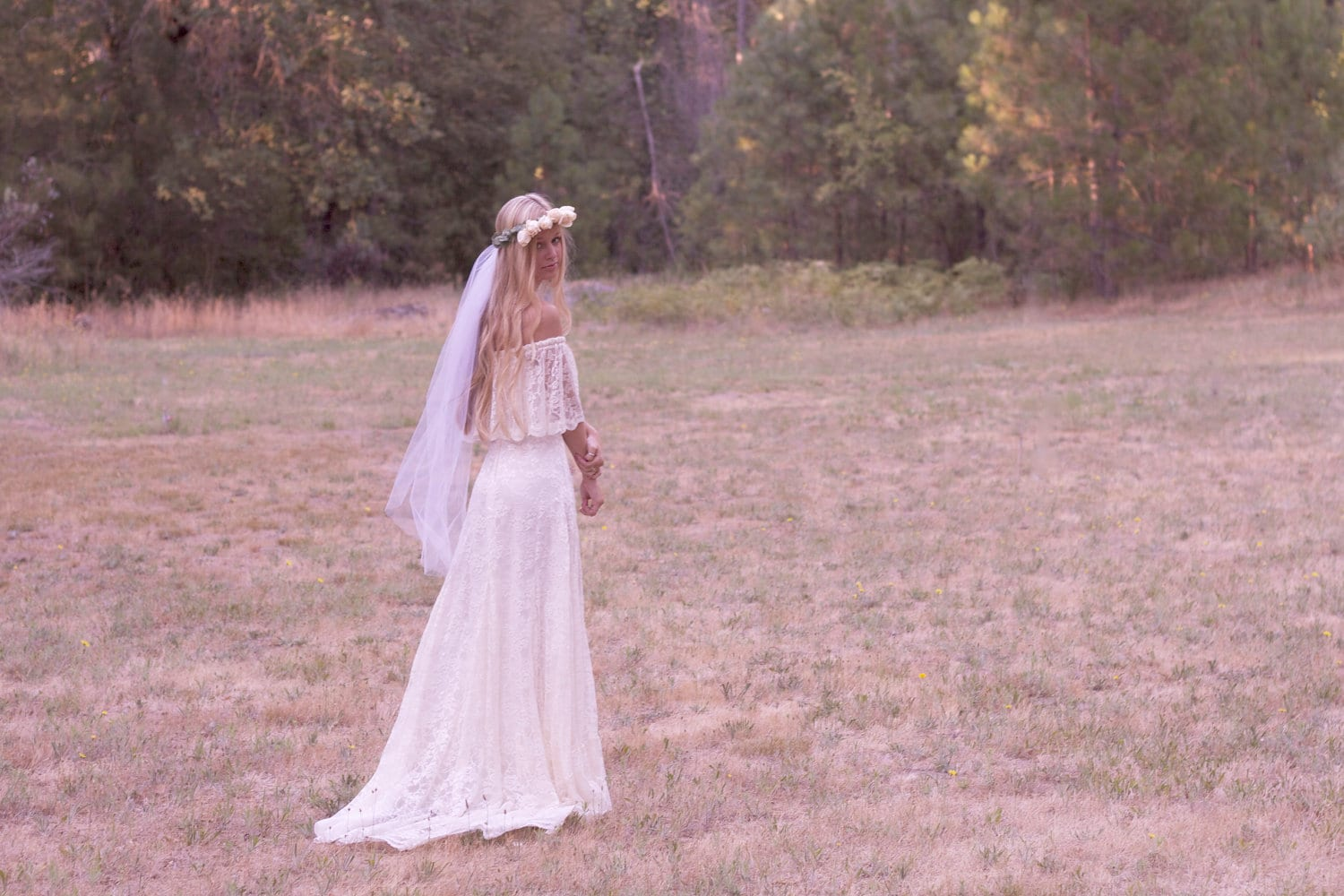 Bohemian Wedding Dress Off The Shoulder Lace Ivory 1970s ...