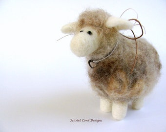 Felted Animal, Sheep, Wool Soft Sculpture, Spring Decor