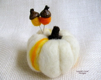 Felted Wool Pumpkin, with Acorn Pins, Needle Felted Pumpkin, Pincushion, Fall Decoration