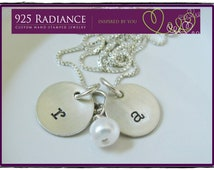 Sterling Silver Hand Stamped inital necklace - DOMED ITTY BITTY