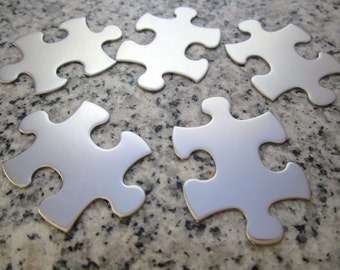 """Big Puzzle Piece Stamping Blanks - 1 1/2 """"x1"""" (38mm x 25mm), 22g Stainless Steel - AWESOME Silver Alternative P12-08"""