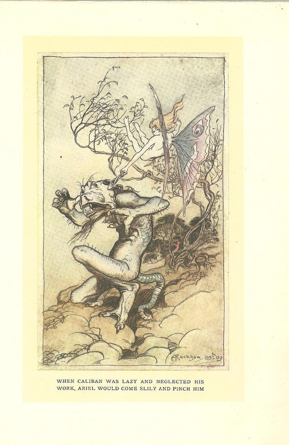 Arthur Rackham Print -Caliban and Ariel The Tempest -1909 Tales From Shakespeare. Ideal for Framing.