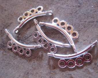 5 Links,silver-plated, flat end bar, curved, 4-loop, 13x2mm..  - JD198