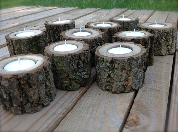 25 Wood Log Tea Light Candle Holders for Woodland Wedding.  Black Walnut.  All Natural.  Rustic.  7 Hour Tea Light Candles Included.