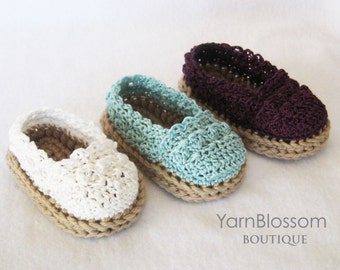 CROCHET PATTERN for Baby Girl Espadrille Shoes (4 sizes included from 0-12 months) Instant Download