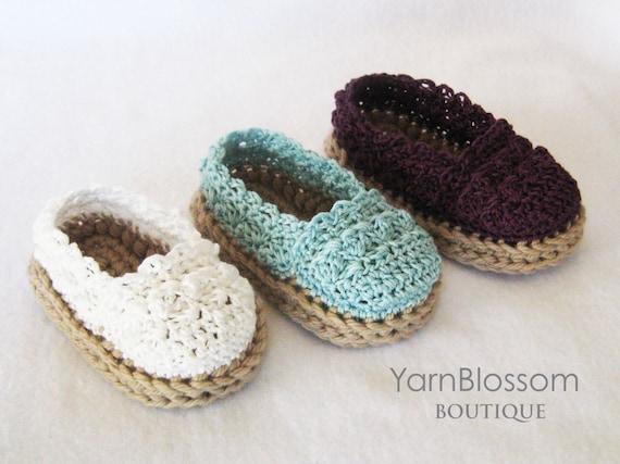 Crochet Baby Elf Slippers Pattern Free : CROCHET PATTERN for Baby Girl Espadrille by ...