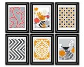 Set of Six Modern inspired /Vintage Orange/Gray Art Print Collection (Unframed)