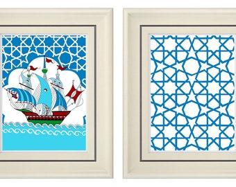 Set of Two Modern Blue Art Print (Unframed)