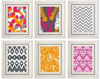 Set of Six Modern/Vintage Fuchsia/Orange Wall Art - 8x11 Print Set - Home Decor - For Home (Unframed)
