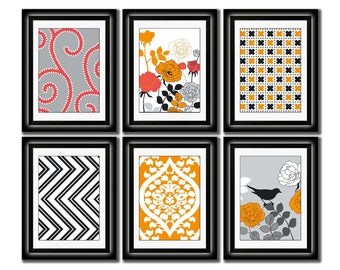 Set of Six Modern inspired /Vintage Orange/Gray Art Print Collection (Unframed)