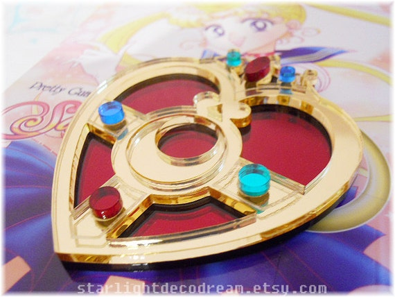 On SALE Sailor Moon Cosmic Heart Compact Inspired Laser Cut Mirror Acrylic Brooch for Mahou Kei, Magical Girl Fashion