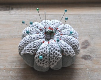 Pincushion Vintage doily lace. Shabby chic home decor. Gift for her
