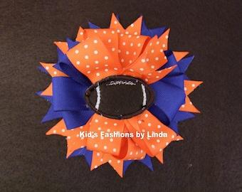 Blue/Orange Football Grosgrain Hair Bow
