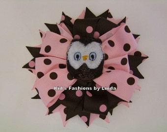 Pink/Brown Dot Owl  Grosgrain Hair Bow