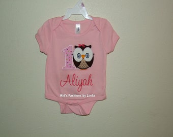Personalized Pink Bodysuit or T-shirt with Number Owl  Applique