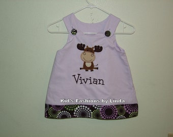 Orchid Aline Top with Groovy Cuff /Pant Set with Moose Applique-Personalization INCLUDED