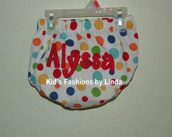 Applique Name Dot  Diaper Cover