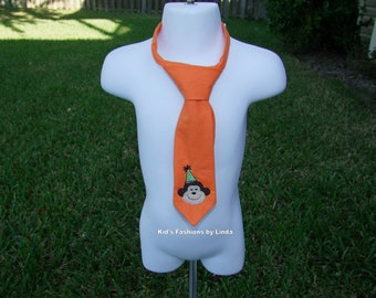 Orange Tie with Birthday Monkey