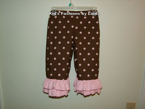 Pink Brown Dots and Pink Gingham Double Ruffle Capri/ Pants